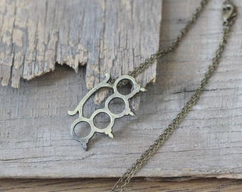 Mens Womens  Knuckle Duster Pendant chain Necklace