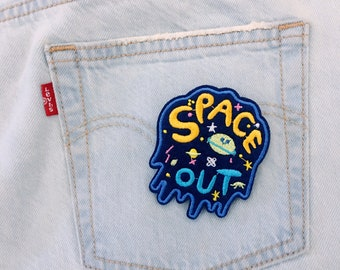 B/space/ space out/ free shipping iron on embroidery patch