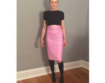 Latex High Waisted Pencil Skirt