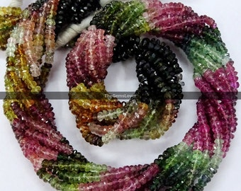 13 Inch Watermelon Tourmaline Faceted Beads AAA Quality Natural Watermelon Tourmaline Faceted Rondelle Beads  4mm to 5mm Tourmaline beads