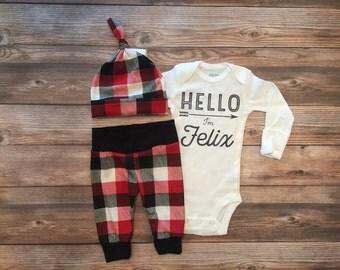 Hello World Buffalo Plaid Baby Boy Newborn Outfit, Hello World Coming home outfit, Hello World baby, Personalized Bodysuit,Plaid, Lumberjack