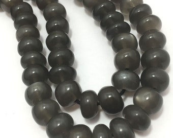 """140 Carat Natural Gray Moonstone Plain Smooth Rondelle 6 To 7 mm 17"""" 92.5 Silver Clasp/Semi Precious Beads/Gemstone Beads"""