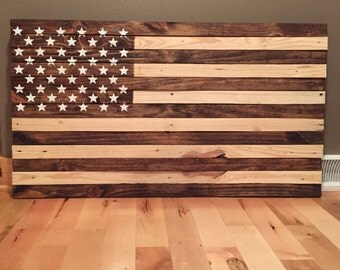 Rustic stained American Flag