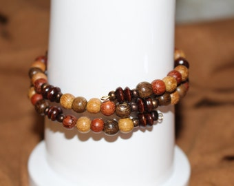 Wooden beaded wrap bracelet