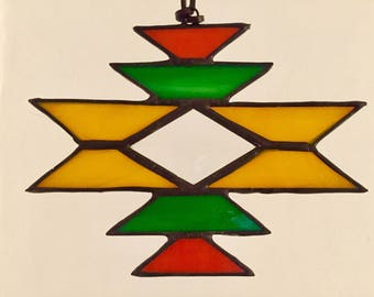 "Stained glass sun catcher ""navajo"" yellow, with bevel, 12 x 15 cm"
