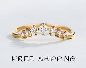 14K Rose Gold wedding band women Curved wedding band Dainty Diamond ring bridal set Match band Unique Delicate Chevron Promise Anniversary