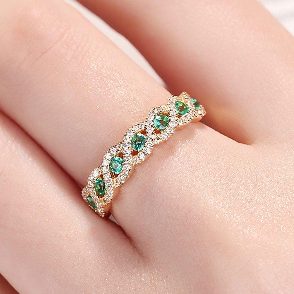 2pcs Emerald Engagement ring Set Solid 14K gold Diamond wedding band ...