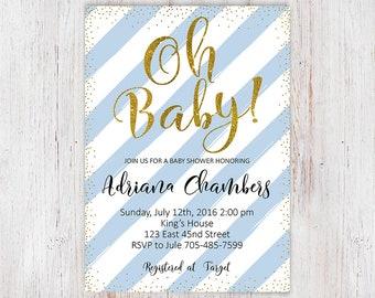 Oh Baby Shower Invite, Oh Boy Baby Shower Invitation, Baby Shower Invitation, Baby Boy Shower Invitation, Baby Shower Invitation Boy, 5x7 5