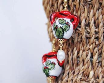 Ceramic amphora-shaped earrings-Sicilian colorful earrings-Handmade