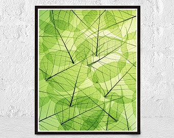 Leaf Wall Art Print, Tropical Plant Photo, Printable Large Poster, Green Leaves Photography, Contemporary Modern Decor, Digital Download