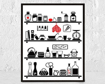 Prints for Kitchen, Kitchen poster, kitchen wall art, Kitchen Art Print, mid century art, affiche cuisine, mid century modern, kitchen print