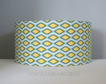 Funky fabric lampshade handmade by vivid shades, modern retro abstract stylish kilim geometric Navajo Aztec diamond pattern custom made drum