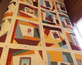 Earthtones Navajo Quilt with paintings by Barbara Starrett size 74x90 no.52