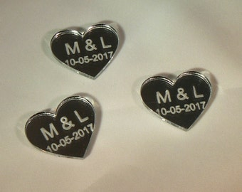 Acrylic Hearts Mirror with initials and wedding date set of 10