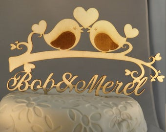 Personalized Laser cut Wooden cake topper Love Birds