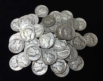 Roll Of 50 Mercury Dimes 90% Silver -- 50 Coin Lot --  Full Dates