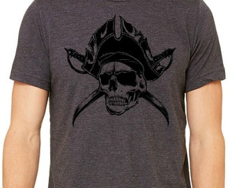 Arr Pirate T-Shirt, Skull Pirate Tshirt, Hand Drawn Skull Pirate Tattoo Artwork Tshirt, Sward Tshirt, Edgy Mens Tshirt, Hard Core Skull Art