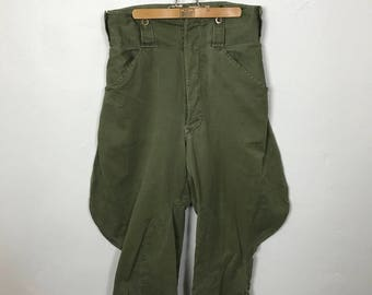 Vintage 60's olive green jodhpur high waisted military riding pants avant garde army pant