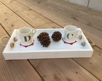 Distressed Wooden Tray with Sisal Rope Handles