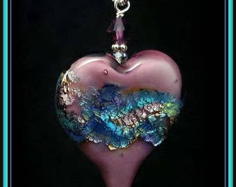 Amethyst and Silver foil Glass Heart