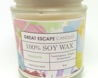 Smells Like Thailand Candle 100% Soy Candles Hand Poured Lemongrass Ginger Made in UK