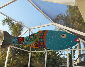 Far Out Fish Works ...Hanging Wind Fish . . . .Lite Blue.....SUMMER SALE