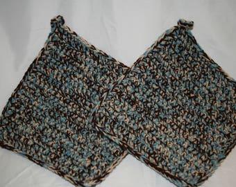 Crochet,Potholders, Bluish, Dark, Brown, Light, Tan