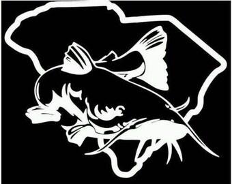 Catfish south carolina fishing decal sticker cooler vinyl