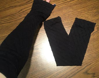 Trixy Xchange - Opera Bicep Length Long Black Gloves Black Striped Arm Warmers Black Sleeves Black Armwarmers Black Driving Sun Sleeves