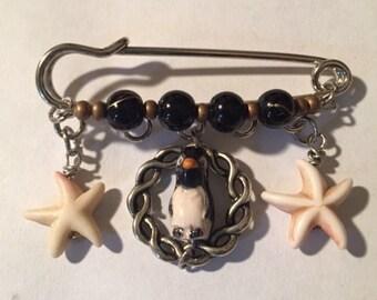 Penguin Kilt Pin,Free Shipping,Ceramic Penguin Bead, Starfish Beads,Black and Bronze Beads.Great Gift For Her.