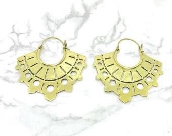 Tribal earrings, Geometric, Boho Bohemian earrings , brass earrings