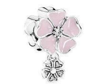 Authentic Pandora Charms Poetic Blooms Dangle Soft Pink Enamel & Clear CZ