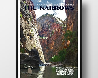 Zion Poster, zion print, national park print, national park poster, zion art, zion national park, the narrows, travel poster, narrows poster