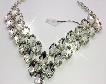Super Large Crystal Vee Shaped Necklace. Adjustable length. Statement Design made by Stage Jewellery