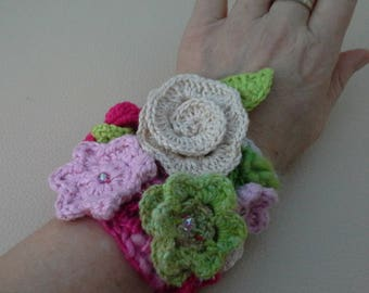 Crocheted Wrist Cuff with Flowers and Beads in Pink and Green Shades - EasterGift#BirthdayGift#GiftYourself#BridesmaidGift