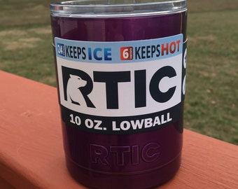 RTIC 10oz Powder Coated Lowball with Lid-Translucent/Metallic Purple or Pick your Color!