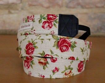 Camera strap, camera strap, DSLR, roses, vintage, shabby, Rococo, tendrils, camera strap, belt, flowers, pink, natural