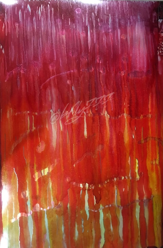 """Large Original Alcohol Ink Abstract: """"Sundrops"""" (23"""" x 35"""")"""