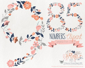 Flowers Clipart 70% OFF! - Numbers Clipart Flora 07 Flowers Floral Vector Graphics PNG Coral Blue