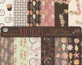 80% OFF! - Digital Papers Bicycles 1 Flowers Floral Earth Tones Brown Tan