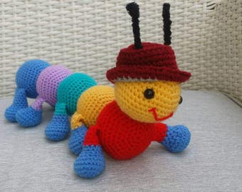 A centipede doll. Knitted crochet. Handmade, ready to ship