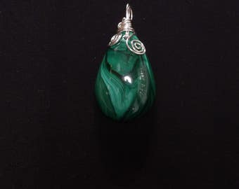 Pendant Green Malachite wire wrapped (42.9x28.5mm) cabochon