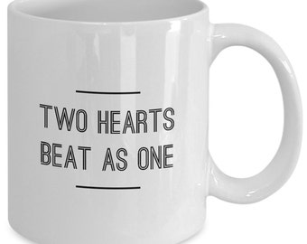 Love Gift coffee mug - two hearts beat as one - Unique gift mug for Lovers