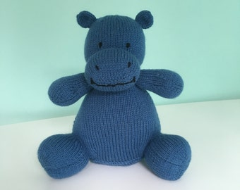 Hippo, Knitted Hippo, Soft Toy, Child's Gift, Adults Gift, Wildlife
