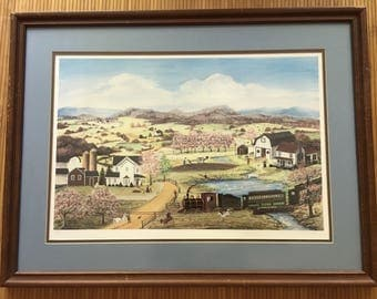 Folk artist Mary A Vessey hand signed, limited edition 312/1000 glicee print, country farm scene barn, silos, farmers, animals, train.
