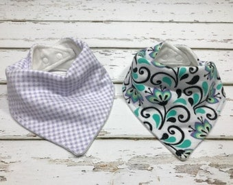 Organic Baby bib shower Gift for girl Bandana bib teal Bib Drool bib teal and purple baby shower girl bib purple baby bib gingham bib