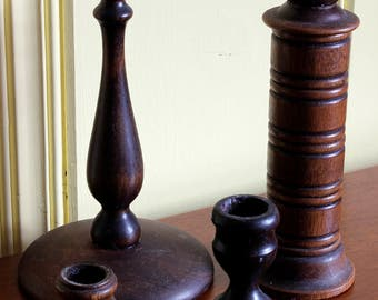 4 Vintage Wooden Candlestick Holders, Instant Collection, Home Decor
