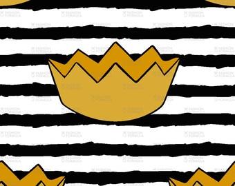 Gold Crowns on Black Stripes Fabric by littlearrowdesigncompany