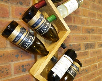 6 Bottle Wall Mounted Wine Rack - Handmade, Strong and Stylish