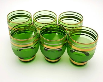 Set of 6 Green Drinking Glasses 3 oz Glass Glassware Vintage from the 70s bar barware